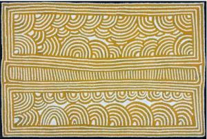 Ray James Tjangala (c. 1958 - ) Sans Titre, 1999 Acrylique sur toile - 91 x 61 cm Groupe Pintupi - Désert Central - Kiwirrkura Provenance: Collection particulière, Australie Ray James est probablement né vers 1958 (1956/58). Il est le fils d'Anatjari Tjampitjinpa, un initié pintupi ayant joué un rôle important dans la création du mouvement pictural aborigène en 1971. Ray James comme le reste de sa famille prends contact avec la civilisation occidentale seulement en 1963. Depuis la mort de son père, Ray James à fait évolué son style vers une plus grande simplicité et les effets optiques et vibratoires. Depuis il a pris une grande importance comme artiste. Des musées prestigieux ont acquis quelques unes de ses oeuvres comme l'Art Gallery of New South Wales (Sydney), la National Gallery of Victoria (Melbourne), le Flinders University Art Museum ou encore le Aboriginal Art Museum (Hollande). Ray décrit le plus souvent des Cycles Tingari associés au site de Yunala. Au Temps du Rêve, un groupe important d'Hommes Tingari ont campé sur ce site avant de reprendre leur route vers Pinari. Les Cycles Tingari décrivent de façon symbolique les voyages des Ancêtres Tingari aux Temps du Rêve Estimation : 900 - 1 100 €