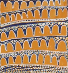 Lot 16 - Narputta Jugadai Nangala (1933 - ) Spirit Woman, 2003 Acrylique sur toile - 55x61 Groupe Pintupi - Haasts Bluff - Désert Central Provenance: Collection particulière, USA Ikuntji Arts, TG/1042-IK03NJ80. Certificat du Centre d'Art Certificat de la Thornquest Gallery Estimation : 400 - 600 €